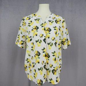 3 for $20- Dalia Lemon Print Button Front Blouse